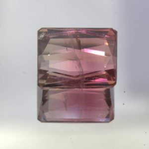 Bi color Tourmaline Pink Green Untreated Brazil Faceted 8 x 6.5 mm 2.25 carat