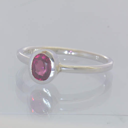 Red Purple Rhodolite Garnet Silver Ring Size 7.5 Solitaire Stackable Design 705
