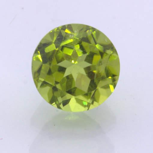 Yellow Green Burma Peridot Untreated Gem Faceted 9 mm Round Step Cut 3.56 carat