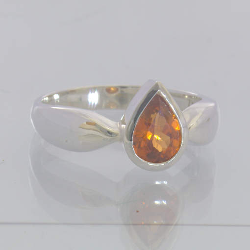 Mandarin Orange Spessartite Garnet 925 Silver Ring Size 7.5 Stackable Design 115