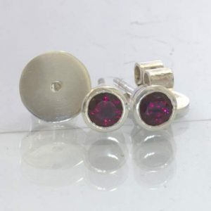 Rhodolite Purple Red Garnet Sterling Studs Ladies Post Earring Pair Design 607