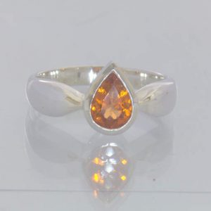 Mandarin Orange Spessartite Garnet 925 Silver Ring Size 7.5 Stackable Design 115
