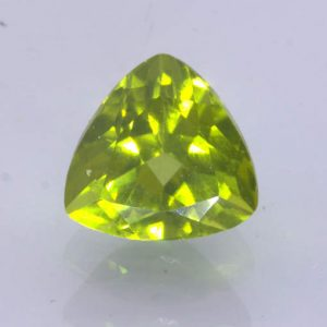 Yellow Green Burma Peridot Untreated Gem Faceted 9 mm Trillion Cut 3.37 carat