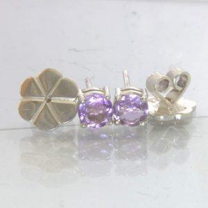 Amethyst 5mm Round Gemstones Sterling Studs Ladies Post Earring Pair Design 80
