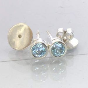 Blue Zircon 5 mm Round Cambodia Gems Sterling Studs Post Earring Pair Design 607