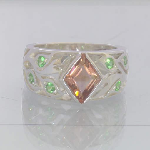 Oregon Sunstone Kite Green Tsavorite Garnet 925 Ring Size 7.5 Floral Design 89