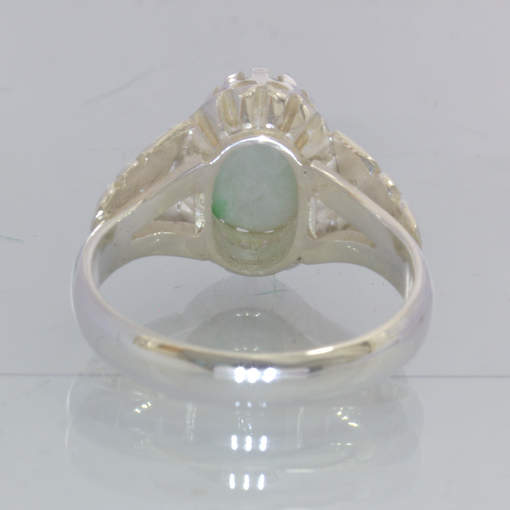 Jadeite Grade A Jade White Green Oval Cabochon 925 Ring Size 9 Floral Design 720