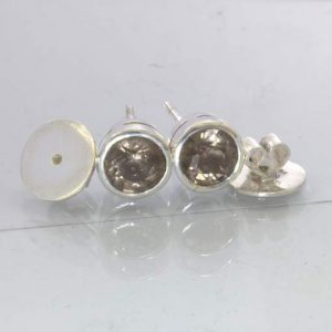 Smoky Quartz 8 mm Round Burma Gems Sterling Studs Post Earring Pair Design 607
