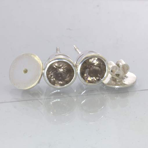 Smoky Quartz 8 mm Round Burma Gems Sterling Studs Post Earring Pair Design 607