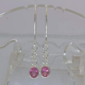 Pink Red Rubellite Tourmaline Oval 925 Silver Ladies Earrings Dangle Design 290