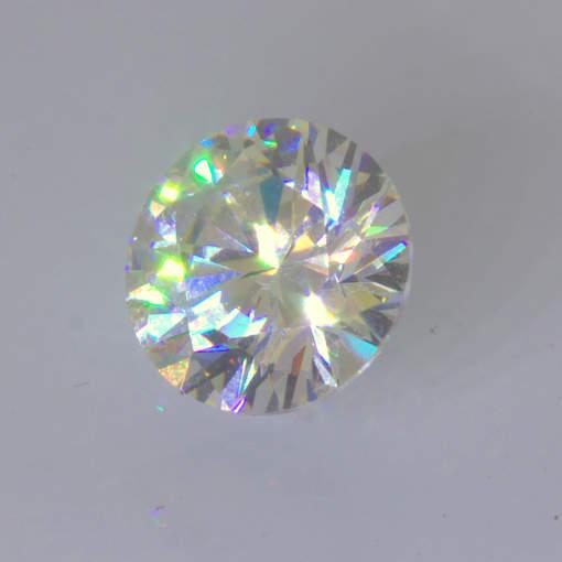 White Strontium Titanate Gemstone Lab Created 8 mm Round Diamond Cut 2.79 carat