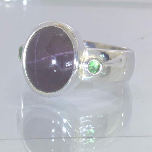 Star Garnet Dark Cabochon Green Tsavorite Garnet 925 Ring Size 12.25 Design 162