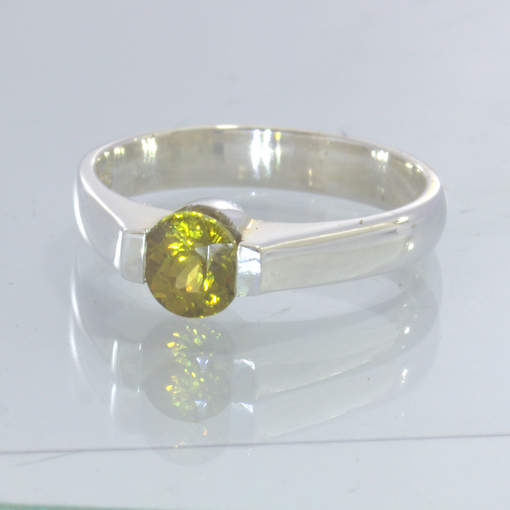 Mali Golden Yellow Garnet Round 925 Sterling Ring Size 6.5 Stacking Design 55