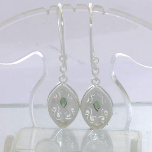 Blue Green Sapphire Burma Unheated Gems 925 Earrings Ajoure Dangle Design 295
