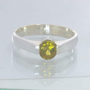 Mali Golden Yellow Garnet Round 925 Sterling Ring Size 6.5 Stacking Design 55
