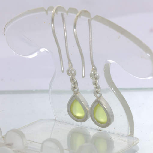 Yellow Sanidine Pear Cabochon 925 Ladies Earrings Hook Dangle Chain Design 290