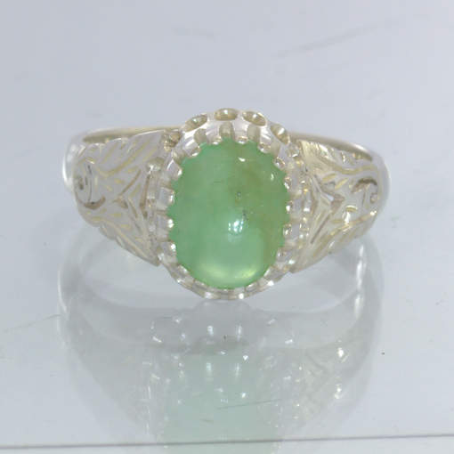 Chrysoprase Green Australia Cabochon 925 Sterling Ring Size 8 Floral Design 720