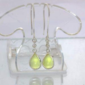 Yellow Sanidine Pear Cabochon 925 Ladies Earrings Hook Dangle Chain Design 290
