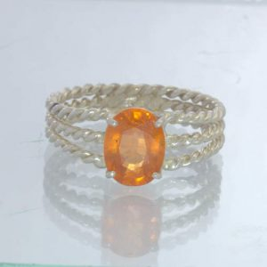 Fanta Orange Spessartite Garnet Oval Sterling Ring Size 11.5 Filigree Design 390
