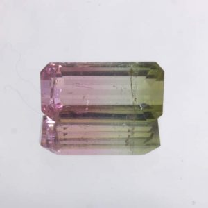 Bi color Tourmaline Pink Green Untreated Brazil Gem Faceted 10 x 5 mm 1.58 carat