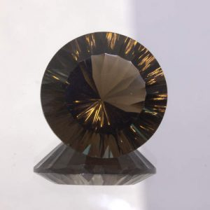 Smoky Quartz 18 mm Round Concave Cut VVS Clarity Untreated Gem 16.05 carat