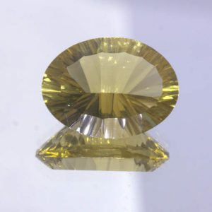 Yellow Citrine 15 x 12 mm Oval Concave Cut VVS Clarity Untreated Gem 7.69 carat