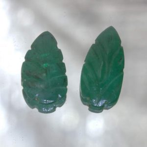 Pair Green Emerald Leaf Carvings Natural Zambia Beryl Gemstones 4.04 total carat