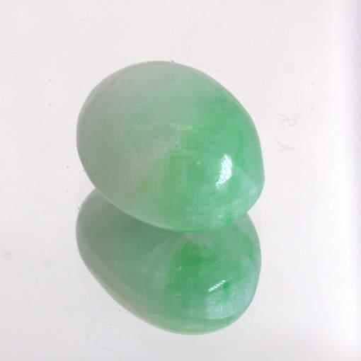 Jadeite Burma Moss Snow Jade Untreated A Grade White Green 12x9.3 Cab 6.88 carat