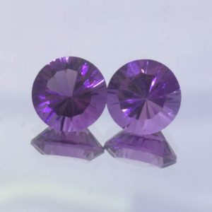 Pair Purple Amethyst 9 mm Round Concave Cut Brazil Natural Gems 4.55 total carat