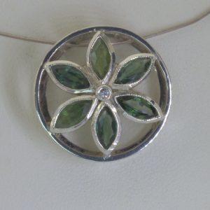 Pendant Sacred Geometry Flower Of Life Burma Unheated Sapphires 925 Design 467