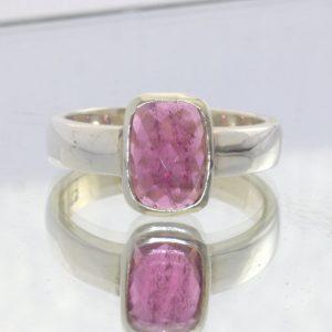 Rubellite Tourmaline Pink Red Purple Gem 925 Ring Size 7 Stacking Design 530