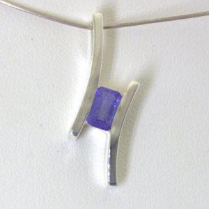 Pendant Blue Purple Tanzanite Octagon Rectangle Sterling Unisex Flair Design 132