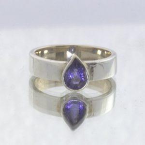 Blue Violet Iolite Pear Untreated Gemstone 925 Ring Size 7 Stacking Design 530