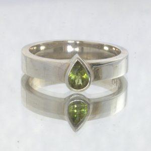 Yellow Mali Garnet Pear Grandite Gemstone 925 Ring Size 9 Stacking Design 530