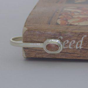 Bookmark Peach Copper Sunstone Oval Sterling Solitaire Book Marker Design 553