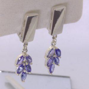 Blue Purple Tanzanite Floral 925 Dangle Earring Pair Russian Lock Design 605