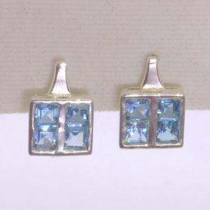 Swiss Blue Topaz Square Princess Gems 925 Earring Pair Russian Lock Design 602