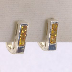 Yellow Orange Sapphire Squares 925 Earring Pair Russian Lock Channel Design 600