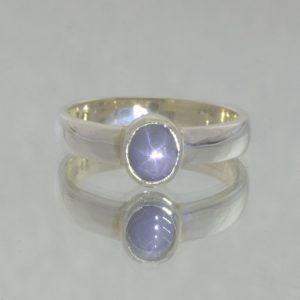 Blue Gray Burma Unheated Oval Star Sapphire 925 Ring Size 7 Stacking Design 530