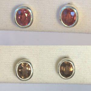 Color Change Garnet Oval Gems Sterling Earring Pair Offset Post Stud Design 580