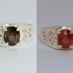 Color Change Garnet 7.5 x 6.2 mm Oval Sterling 925 Ring Size 7 Ajoure Design 1