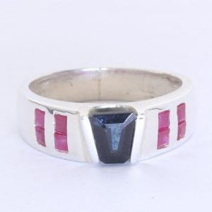 Indicolite Dark Blue Tourmaline Keystone Red Ruby 925 Ring Size 8.25 Design 542