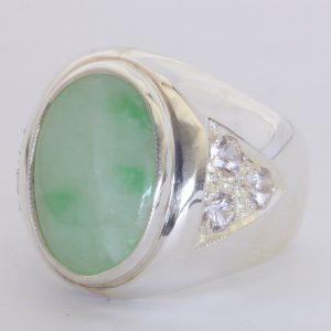 Burma Jadeite Jade Ceylon White Sapphire Sterling Gents Ring Size 9.5 Design 28