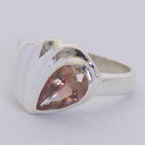 Oregon Sunstone Peach Orange Pear 925 Sterling Ring Size 9.5 Cascading Design 38