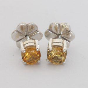 Yellow Citrine Studs Burma Round Gems 925 Silver Ladies Post Earrings Design 80
