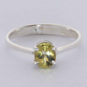 Yellow Mali Garnet Grandite Oval Gemstone 925 Ring Size 6 Solitaire Design 121