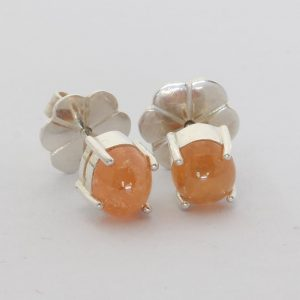 Fanta Orange Garnet Oval Cabochons Sterling Studs Ladies Post Earrings Design 80