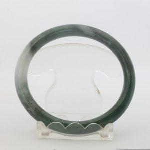 Jade Bangle Burmese Jadeite Thin Traditional Cut Round Bracelet 58.6 mm Size 7.2