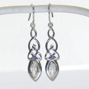 White Zircon Infinity Symbol Celtic Knot 925 Dangle Earrings Marquise Design 79
