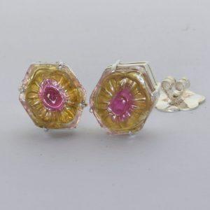 Bicolor Tourmaline Flower Carving Hexagonal Studs 925 Post Earrings Design 80